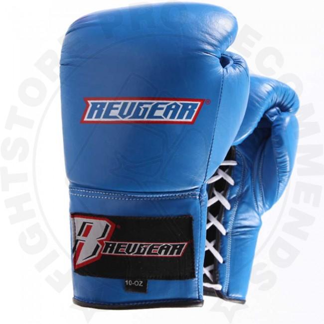 Revgear Professional Lace Up Boxing Gloves Blue Fight