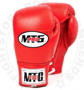 MTG Pro Red Lace-up Boxing Gloves