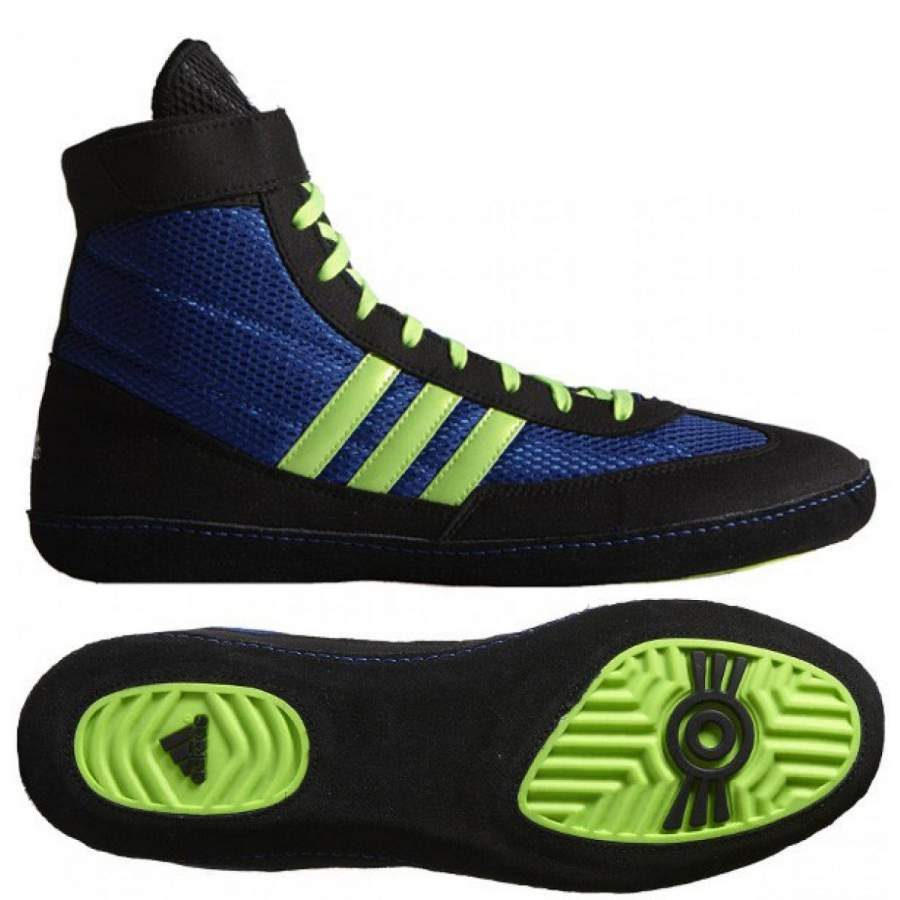 bbc117e7b18 Adidas Combat Speed 4 Wrestling Shoes - Royal Green Black - Fight ...
