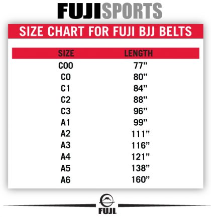 Fuji BJJ White Belt - Adult Size Chart