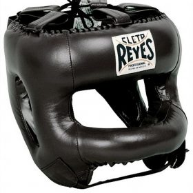 Cleto Reyes Redesigned Leather Headguard with Nylon Face Bar - Black