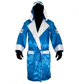 Cleto Reyes Satin Robe With Hood - Blue