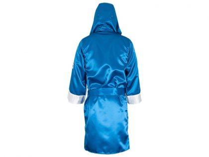 Cleto Reyes Satin Robe With Hood - Blue