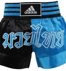 Adidas Thai Boxing Shorts Large Print - Black/Blue