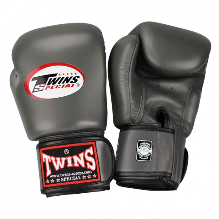 Shiv Naresh Teens Boxing Gloves 12oz: Twins BGVL 3 Thai Boxing Gloves - Grey