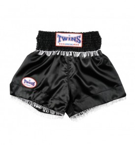 Twins Muay Thai Shorts - Black / White Fringe