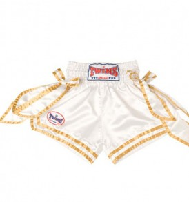 Twins Muay Thai Shorts - White / Gold V2