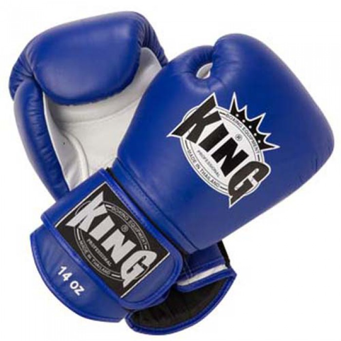 King Leather Boxing Gloves Blue Fight Store Ireland