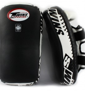 Twins Ultimate Curved Thai Kick Pads - Black/White
