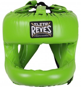 Cleto Reyes Redesigned Leather Headguard with Nylon Face Bar - Citrus Green