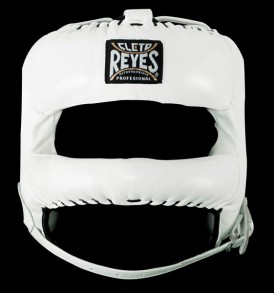 Cleto Reyes Redesigned Leather Headguard with Nylon Face Bar - White