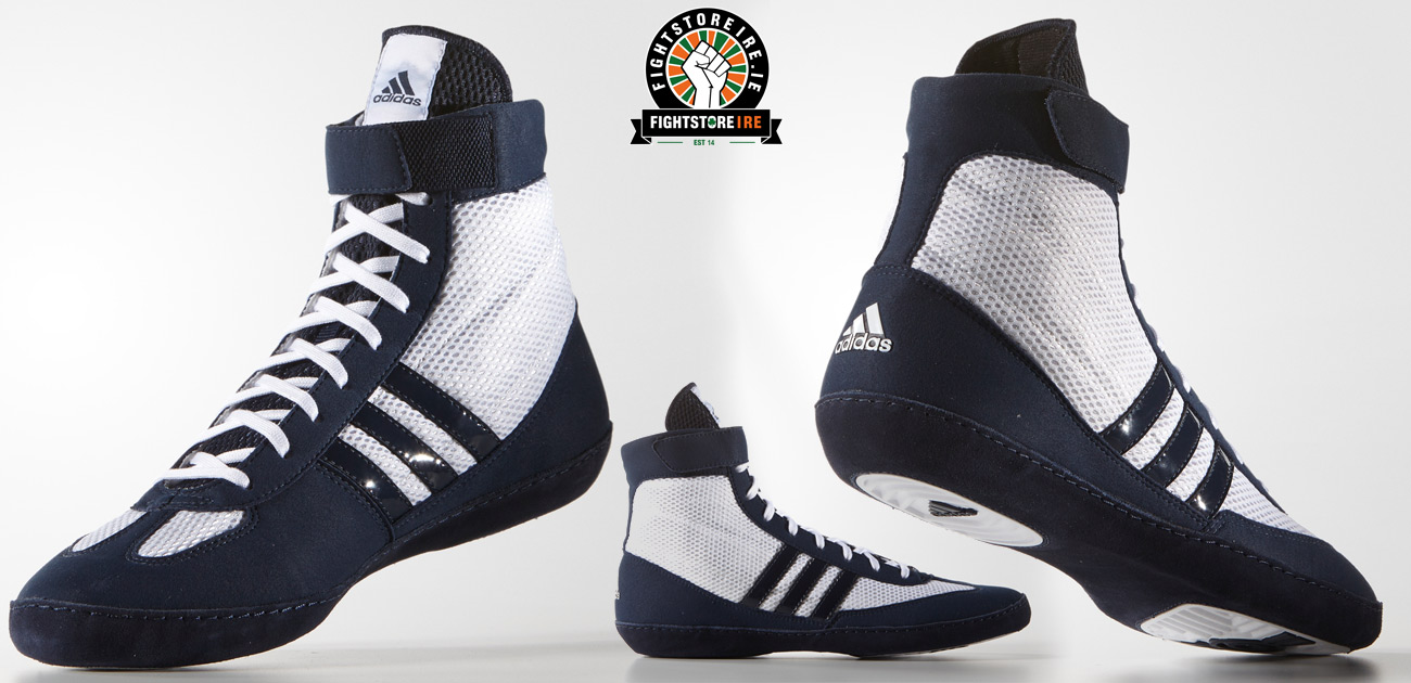 8d740f68b8fb Adidas Combat Speed 4 Wrestling Shoes - White Navy - Fight Store IRELAND