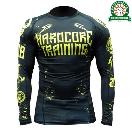 Hardcore Training 0820 Rashguard Black and Yellow