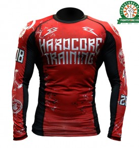 Hardcore Training 0820 Rashguard Red and Black