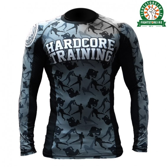 Hardcore Training Camo Fight Rashguard - Black