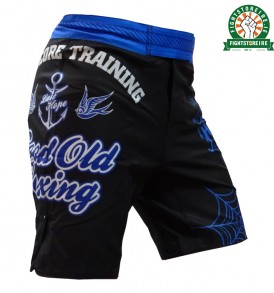 Hardcore Training Good Old Boxing MMA Shorts - Black/Blue