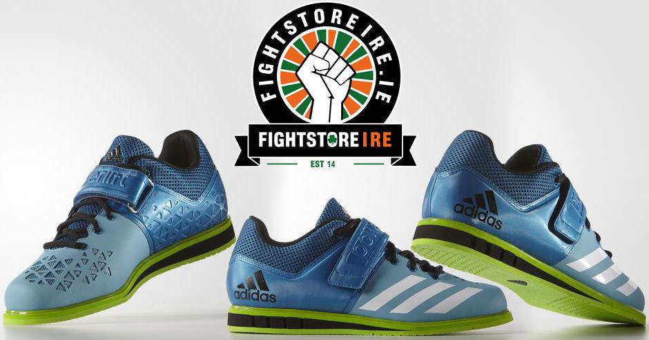 Adidas powerlift 3 sollevamento pesi scarpe blu / verde lotta negozio
