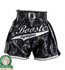 Booster PRO Muay Thai Shorts - Black/Silver 4.43