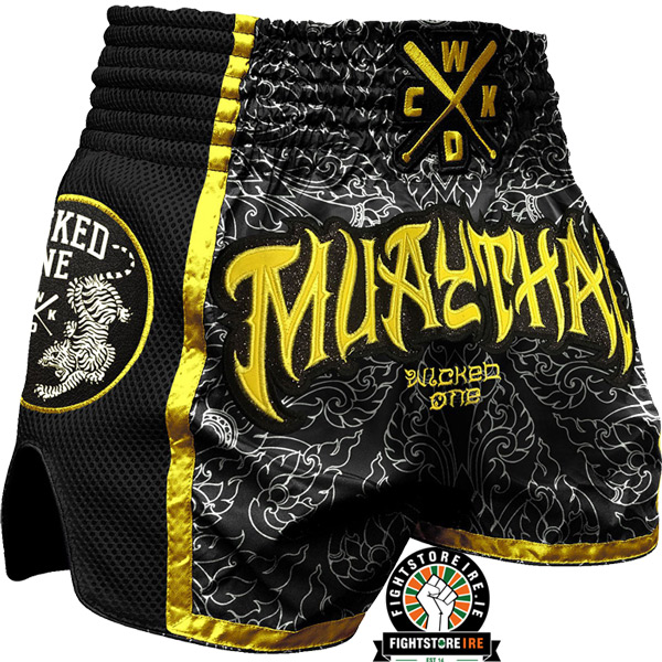 wicked one muay thai shorts black yellow fight store. Black Bedroom Furniture Sets. Home Design Ideas