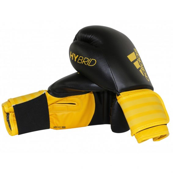 Adidas Hybrid 100 Boxing Gloves - Black/Yellow