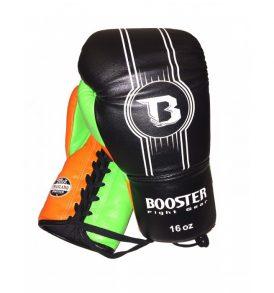 Booster Leather PRO Laced Gloves - Black / Orange / Green