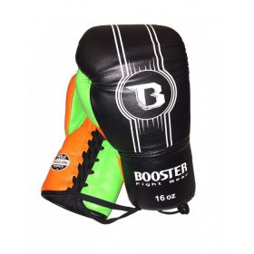 Booster Leather PRO Laced Gloves - Black / Orange / Green
