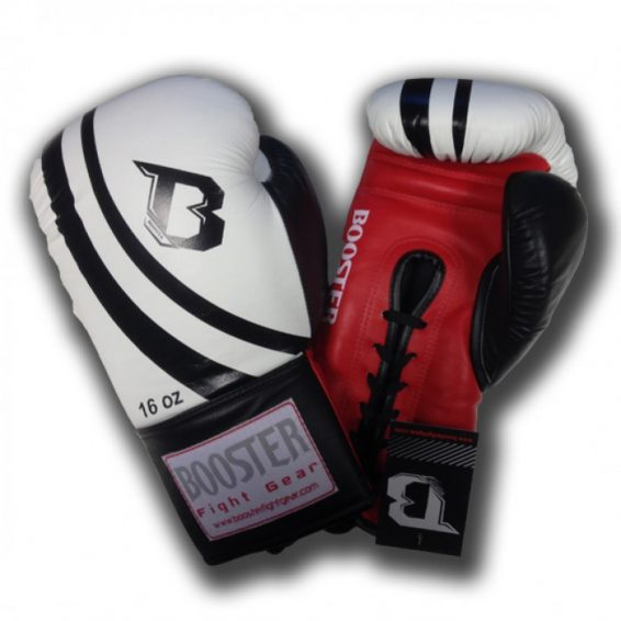 Booster PRO Range Leather Lace Up Gloves - Black / White