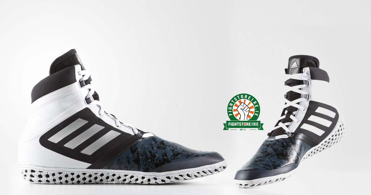 1dcb6b2df2b Adidas Flying Impact Wrestling Shoes - Black Silver White - Fight Store  IRELAND