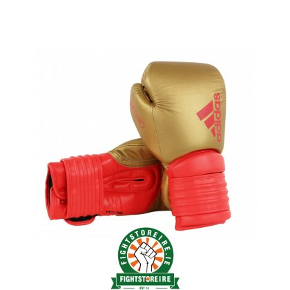 Adidas Hybrid 300 Boxing Gloves - Gold/Red