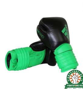 Adidas Hybrid 300 Boxing Gloves - Lime Green/Black