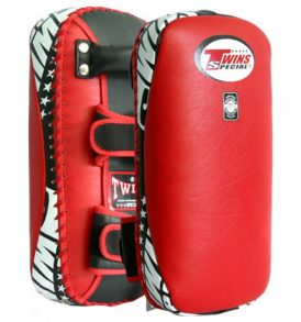 Twins Special Muay Thai Leather Kick Pads - Red