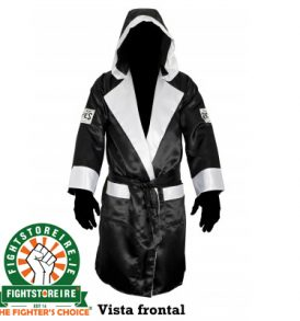 Cleto Reyes Satin Boxing Robe With Hood - Black