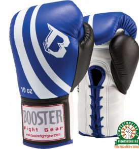 Booster Pro Lace Up Boxing Gloves - Blue/White