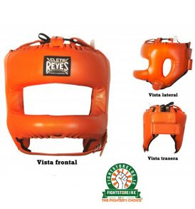 Cleto Reyes Redesigned Leather Headguard with Nylon Face Bar - Tiger Orange