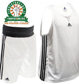 Adidas Base Punch White Boxing Vest & Shorts Set