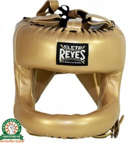 Cleto Reyes Redesigned Leather Headguard with Nylon Face Bar - Gold