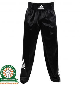 Adidas Satin Kickboxing Trousers - Black/White