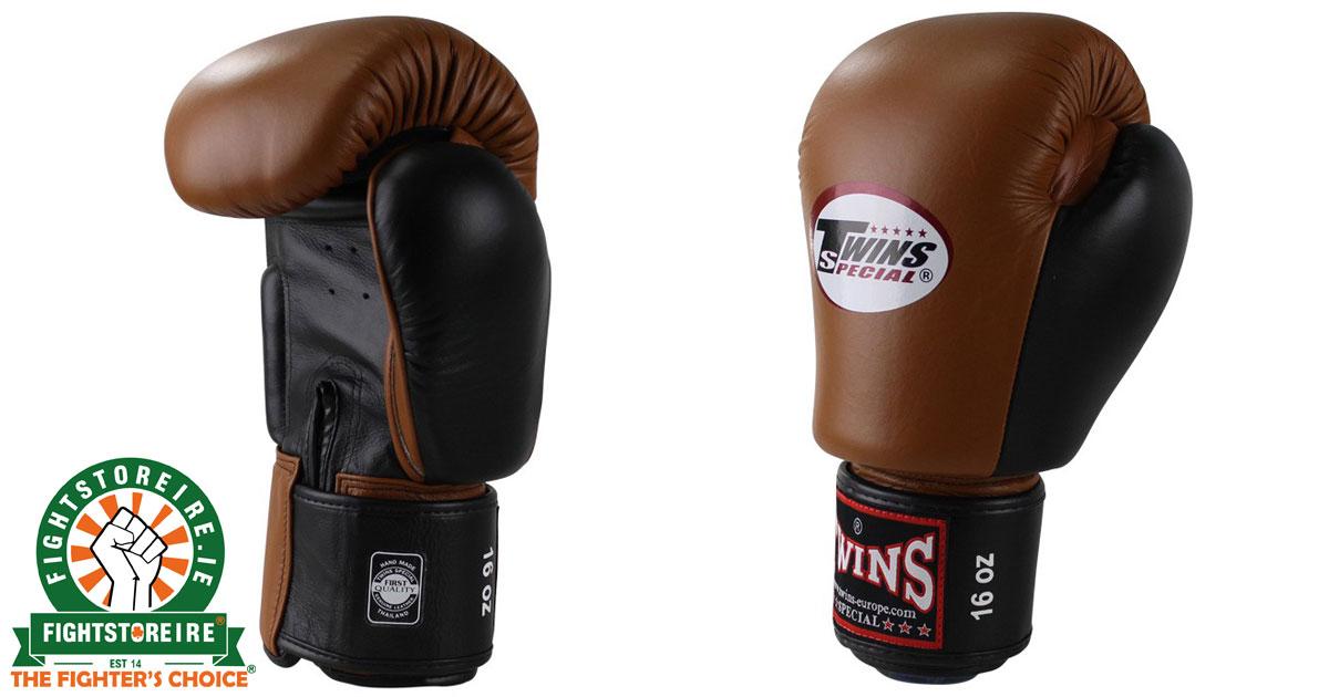 Shiv Naresh Teens Boxing Gloves 12oz: Twins Special BGVL 3 Thai Boxing Gloves Retro Brown/Black