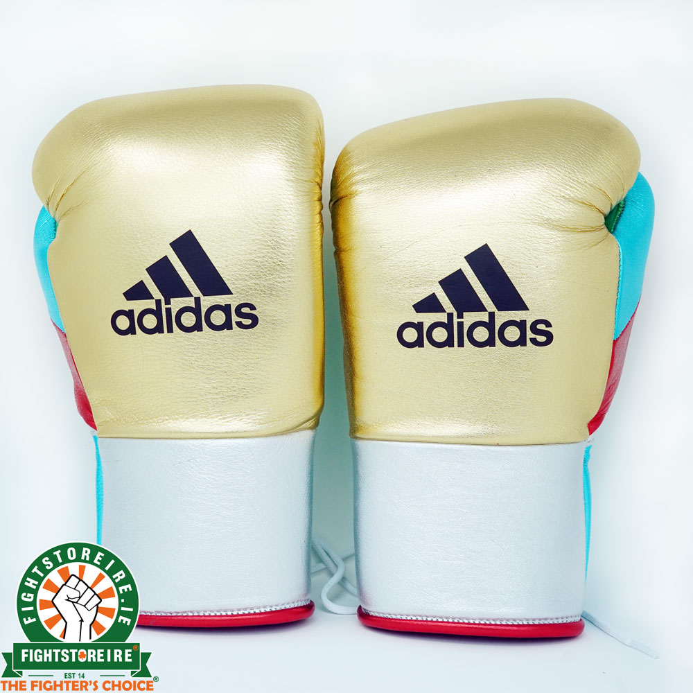 Adidas Custom Lace Up Sparring Gloves - Gold/Silver | Fightstore IRE
