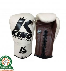 King Leather Lace Up Gloves - Cream/Brown