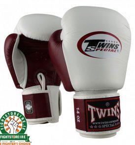 Twins BGVL3 Muay Thai Gloves - White/Wine Red