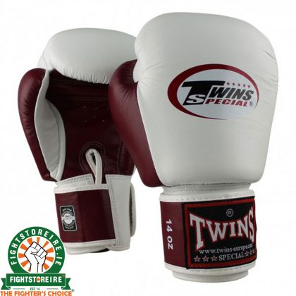 Twins BGVL3 Muay Thai Gloves - White/Wine Red