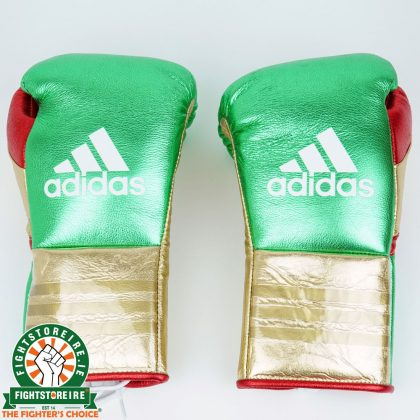 Adidas Custom Lace Up Fight Gloves - Green/Gold/Red