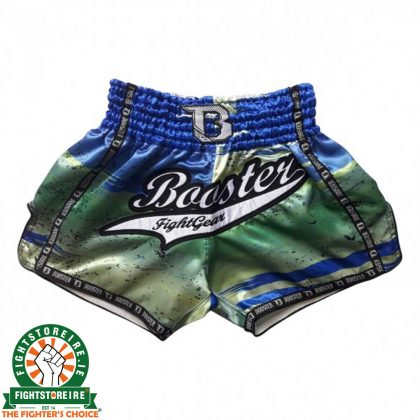 Booster Thai Boxing Trunks CHAOS 2 - Green/Blue