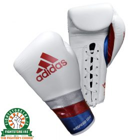 Adidas adiSpeed Lace Boxing Gloves - White/Red/Blue