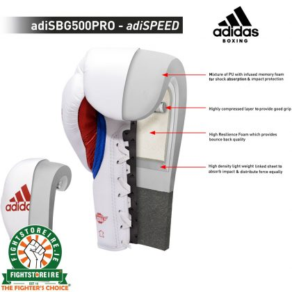 Adidas adiSpeed Limited Edition Lace Boxing Gloves - White/Green/Red