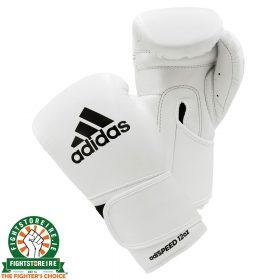 Adidas adiSpeed Velcro Boxing Gloves - White/Black | Fightstore IRE