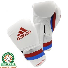Adidas adiSpeed Velcro Boxing Gloves - White/Red/Blue | Fightstore IRE