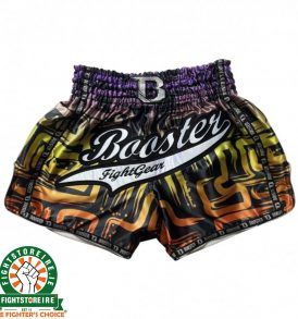 Booster Labyrinth PRO Muay Thai Shorts - Orange/Yellow/Purple