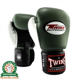 Twins Special BGVL 4 Thai Boxing Gloves - Olive Green/White